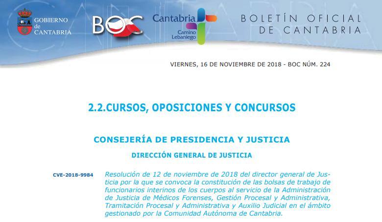 Justicia 2018oposiciones De Interinos Cantabria Bolsa nOPNyw0vm8